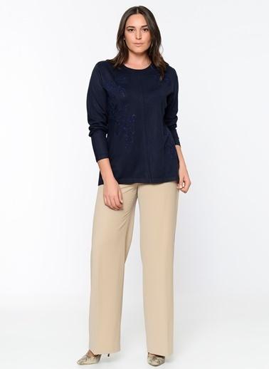 Butik Triko İşlemeli Uzun Kollu Bluz Lacivert